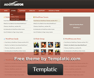 Wordpress theme Aggregator