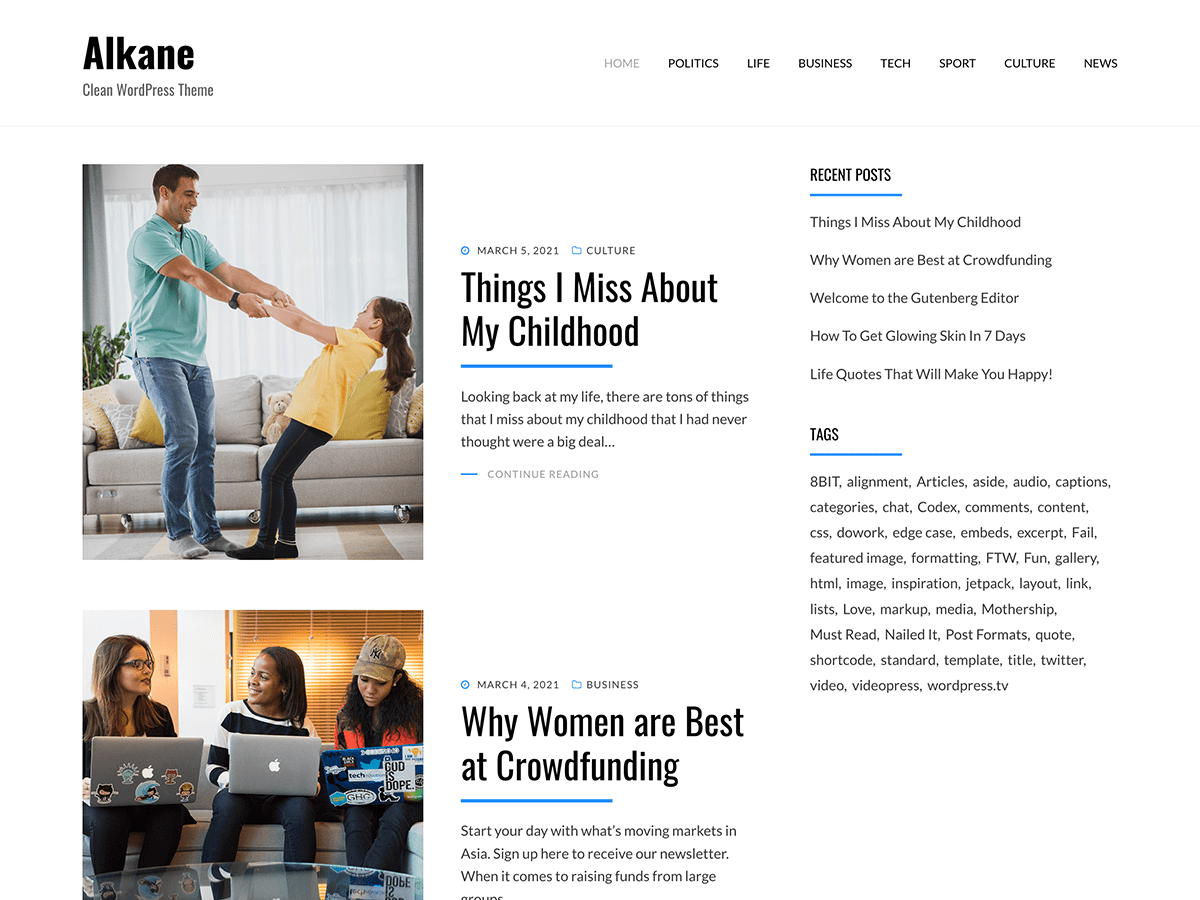 Wordpress theme Alkane