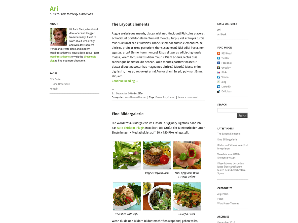 Wordpress theme Ari