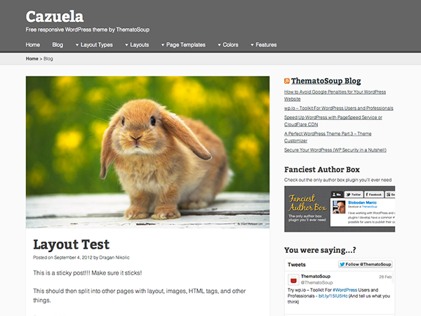 Wordpress theme Cazuela