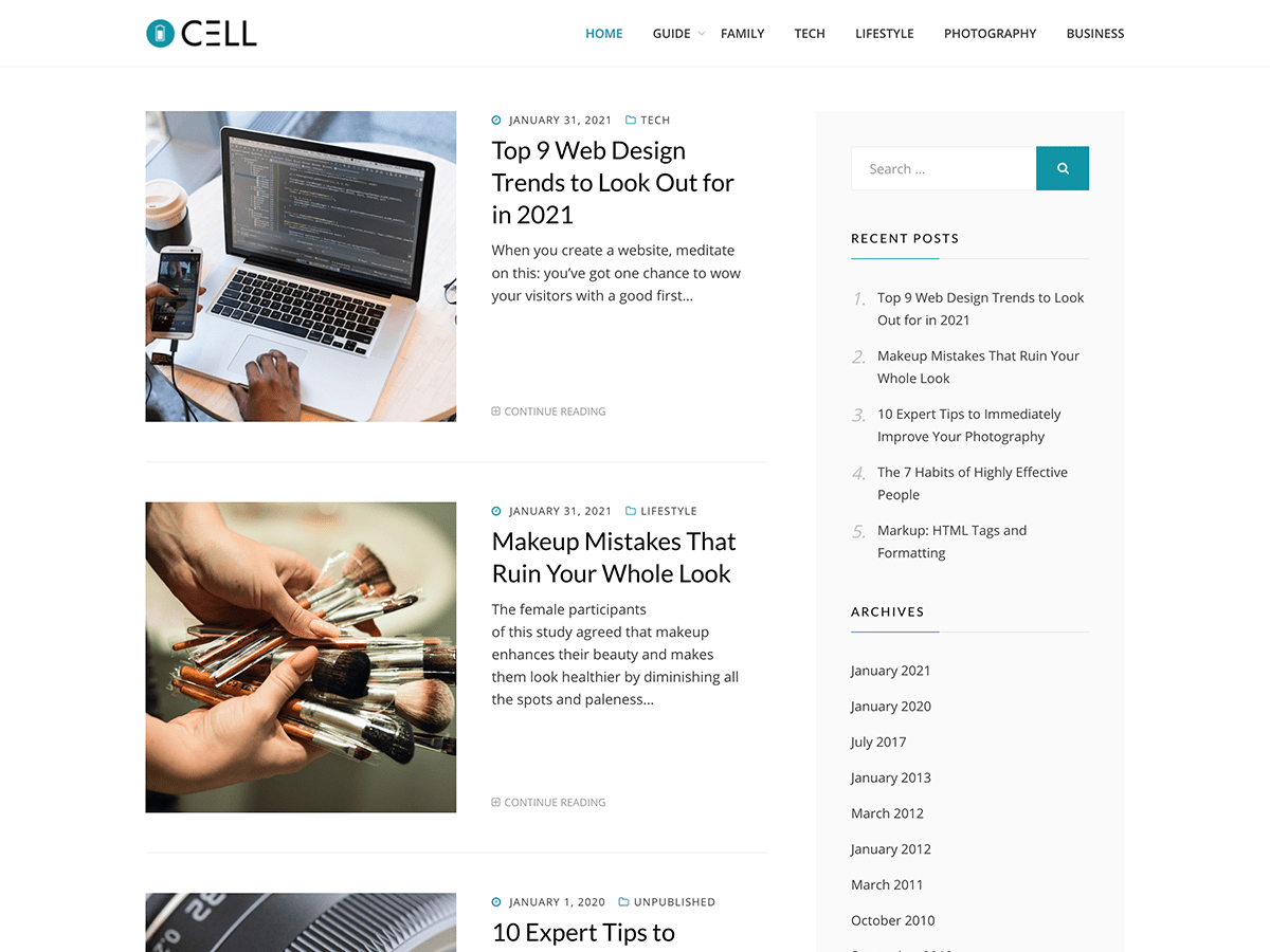 Wordpress theme Cell