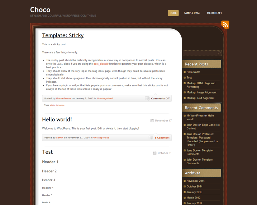 Wordpress theme ChocoTheme