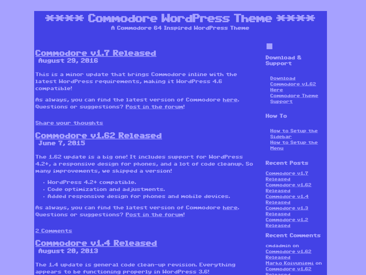 Wordpress theme Commodore