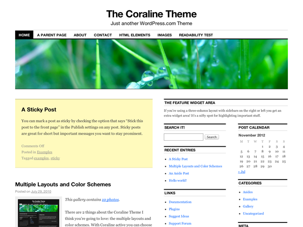 Wordpress theme Coraline