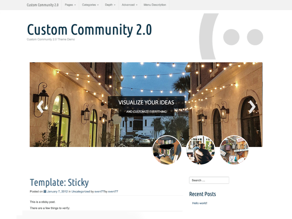 Wordpress theme Custom Community