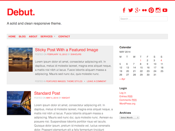 Wordpress theme Debut