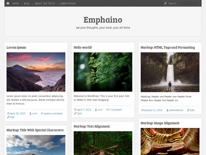 Wordpress theme Emphaino
