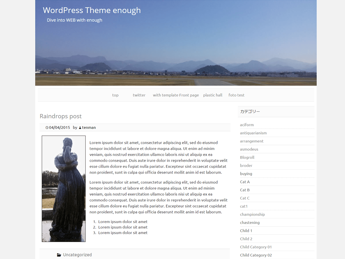 Wordpress theme Enough