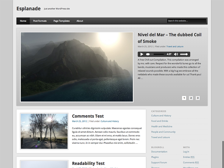 Wordpress theme Esplanade