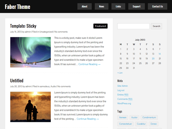 Wordpress theme Faber