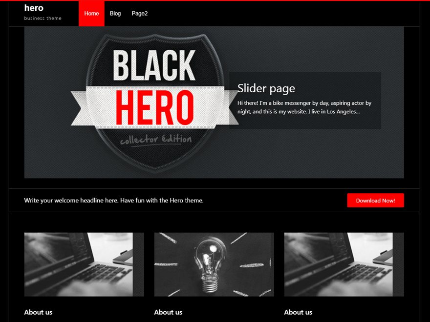 Wordpress theme Hero