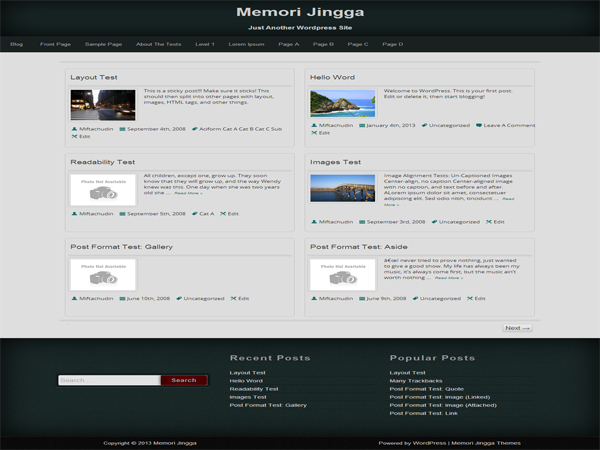 Wordpress theme Memori Jingga