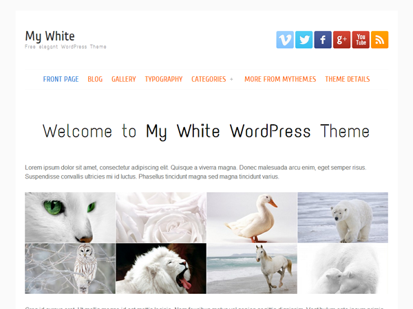 Wordpress theme my white
