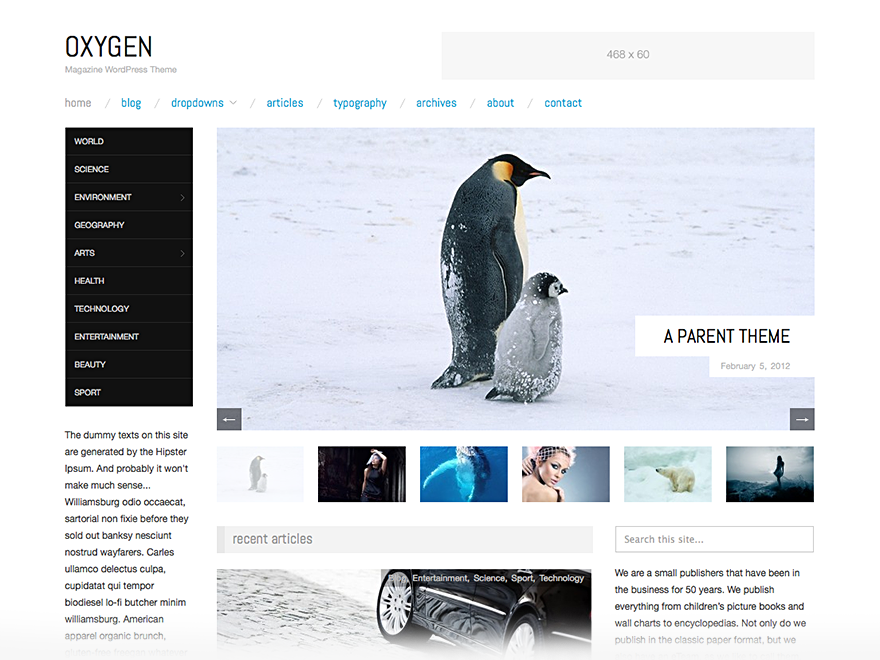 Wordpress theme Oxygen