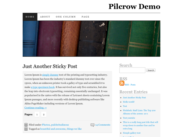 Wordpress theme Pilcrow
