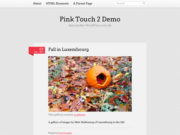 Wordpress theme Pink Touch 2