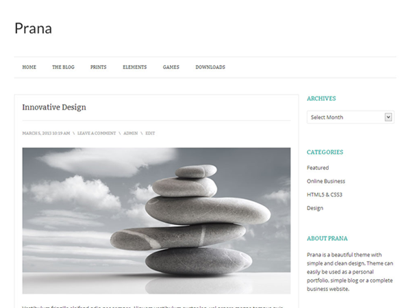 Wordpress theme Prana