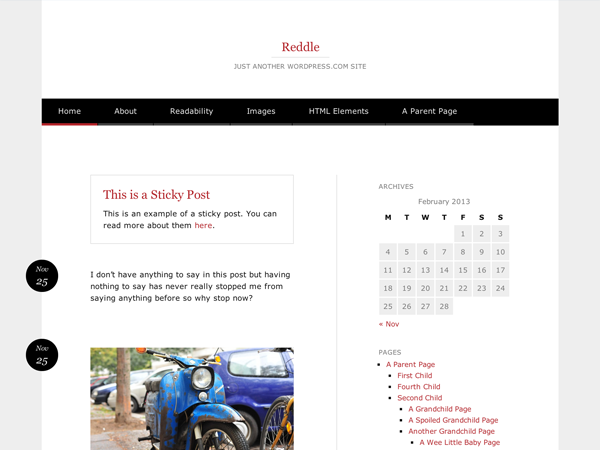 Wordpress theme Reddle