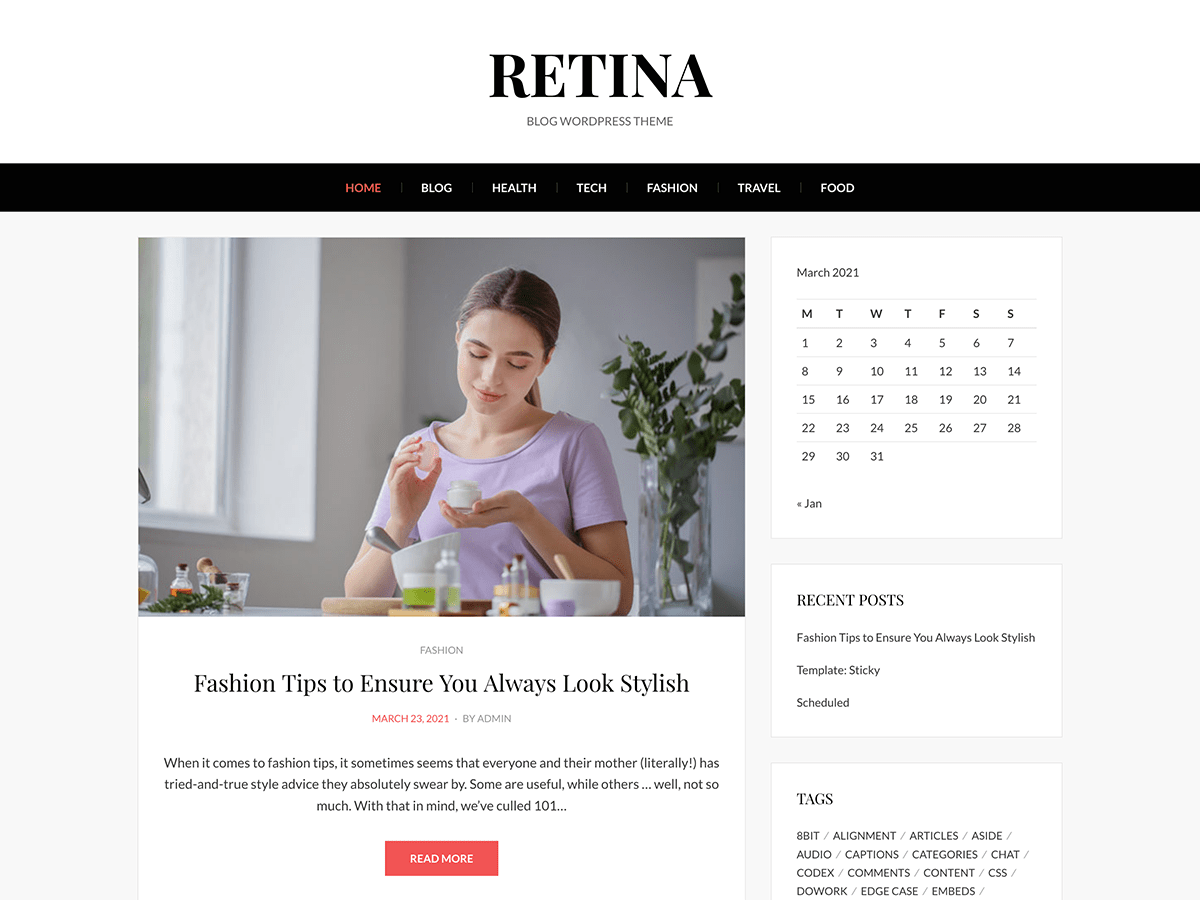 Wordpress theme Retina