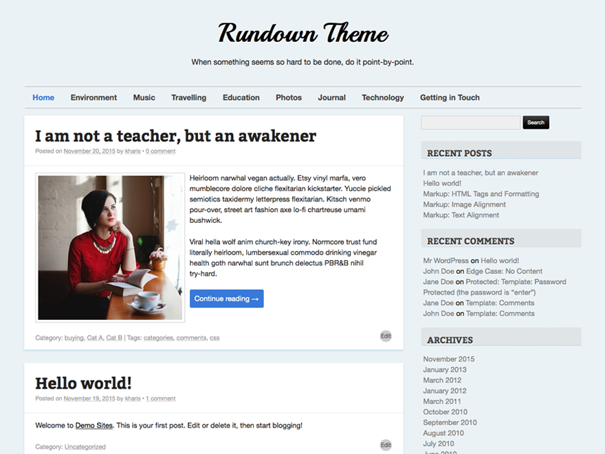 Wordpress theme Rundown