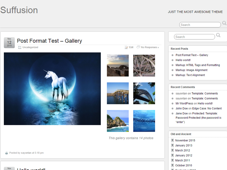 Wordpress theme Suffusion