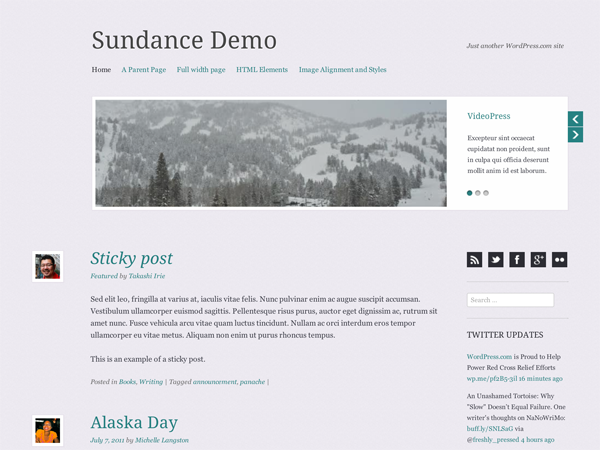 Wordpress theme Sundance