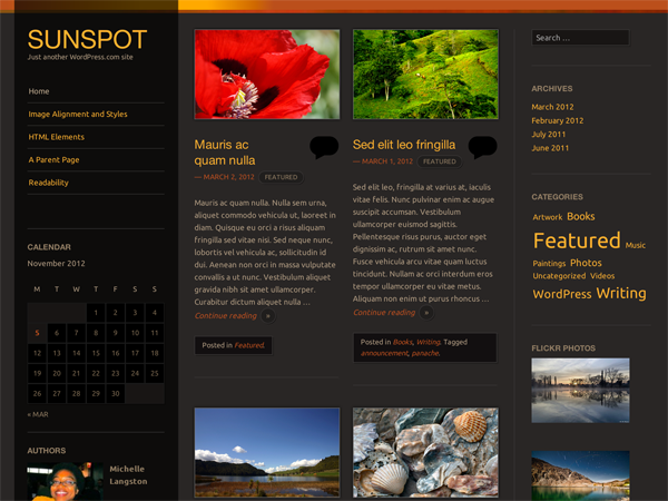 Wordpress theme Sunspot