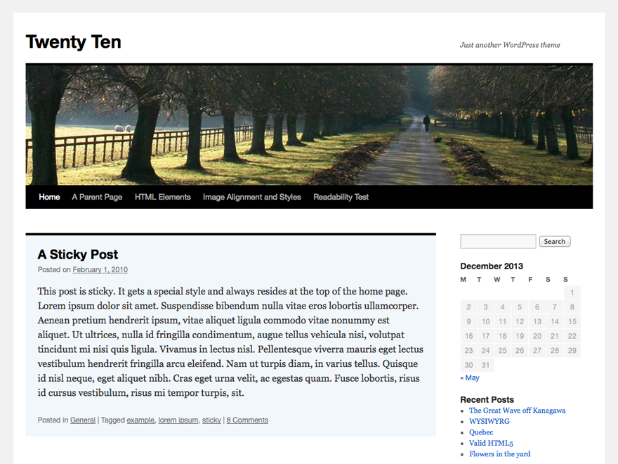 Wordpress theme Twenty Ten