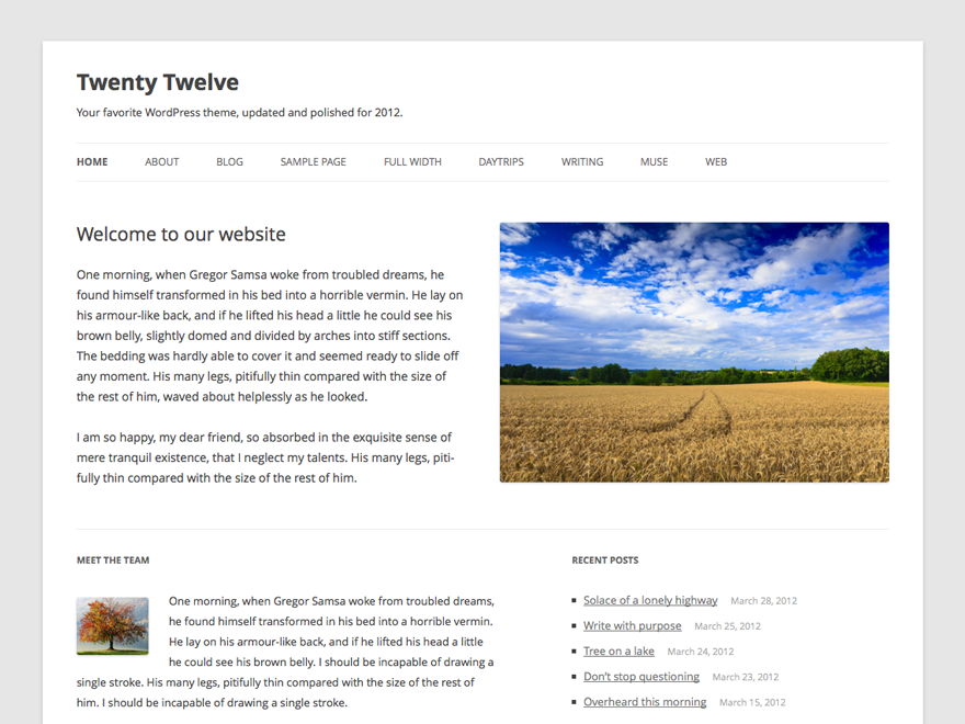 Wordpress theme Twenty Twelve
