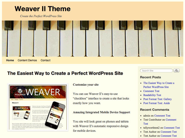 Wordpress theme Weaver II