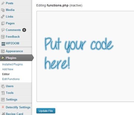 Añade código a functions.php mediante un plugin